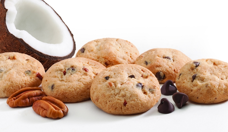 Caribbean crunch cookies with chocolate chips and pecans